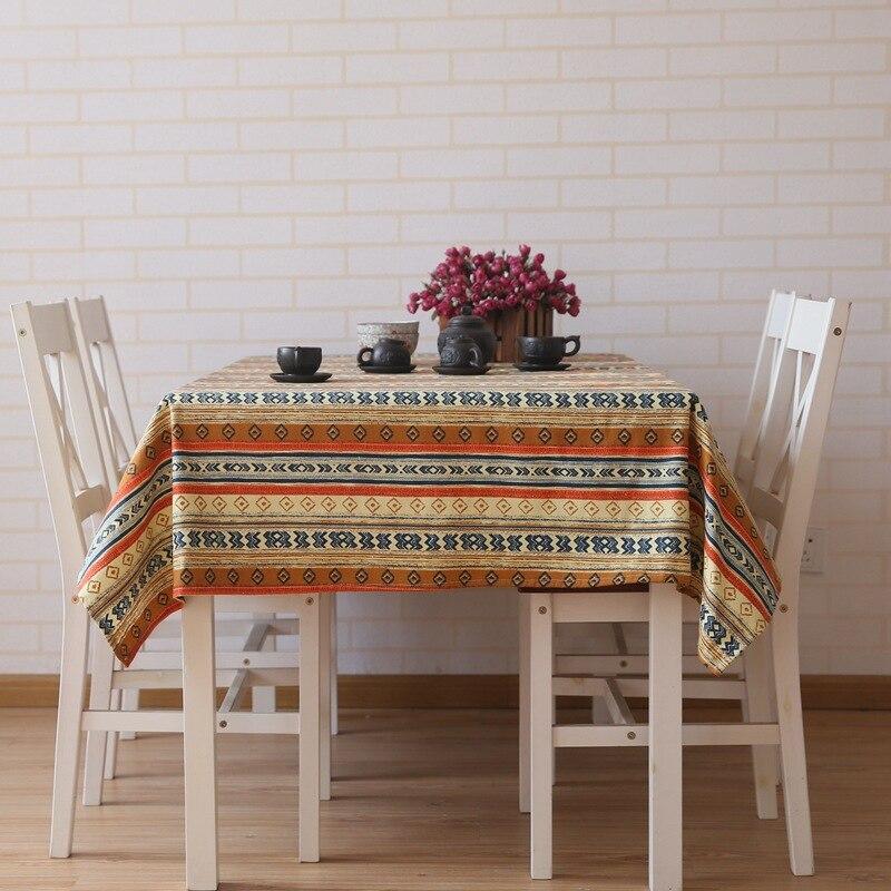 Прямоугольный льняная скатерть Юго-Восточной Азии с принтом в полоску скатерть для кухни дома Кофе Украшение стола покрытие стола