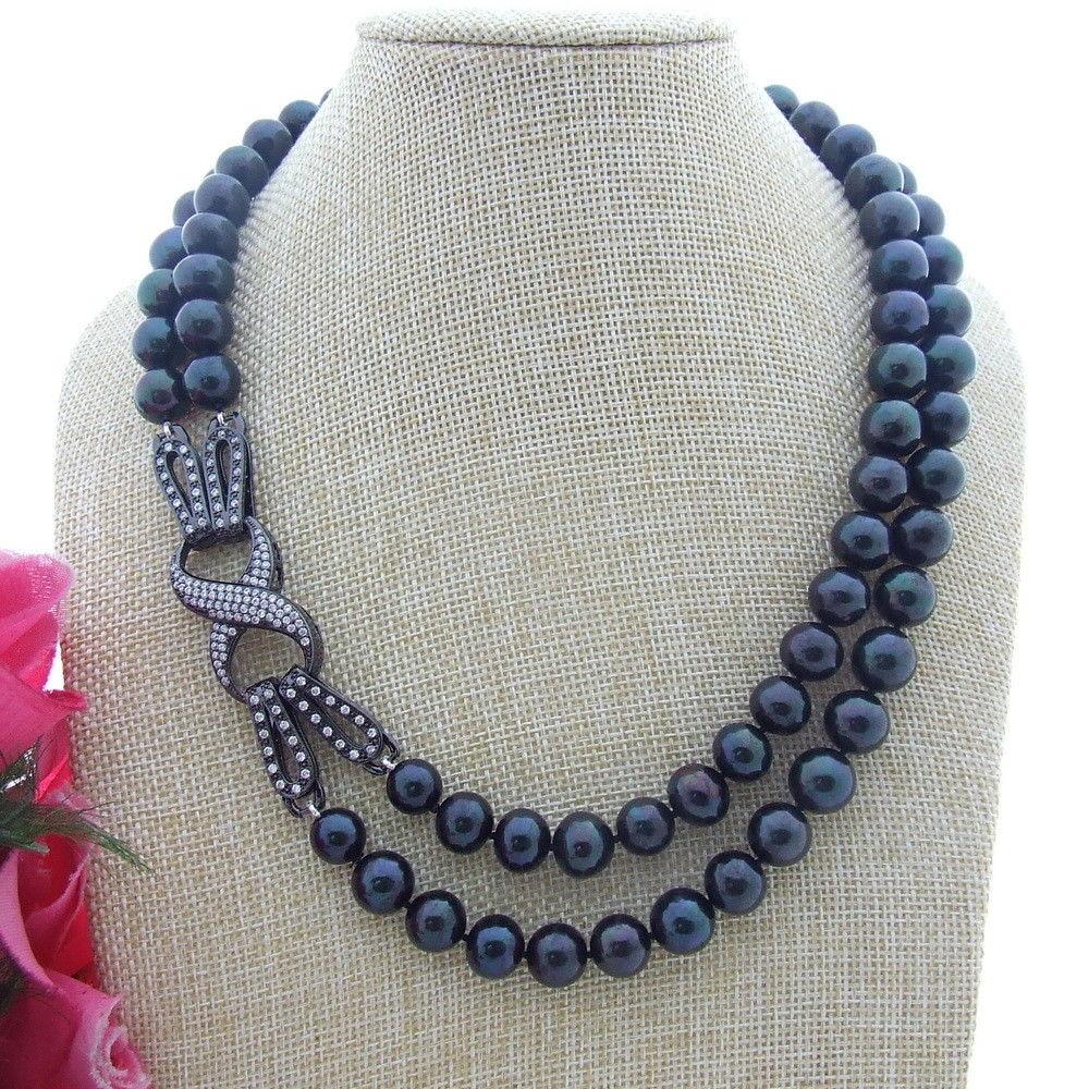 FC061008 2 brins 11mm AA noir collier de perles rondes CZ fermoir