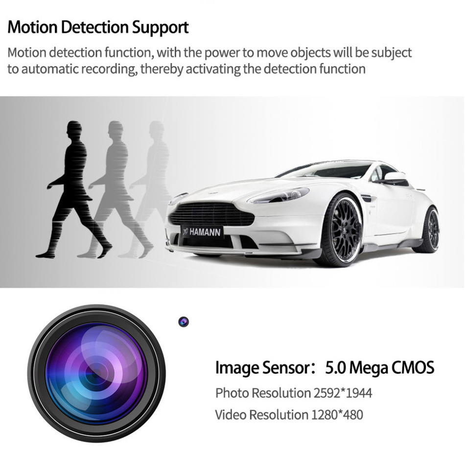 2016 Mini Car Dvr 2 Lens Dual Cameras Recorder Novatek 1080P Full HD Dash Cam With External Rear Camera Night Vision Camcorder-7