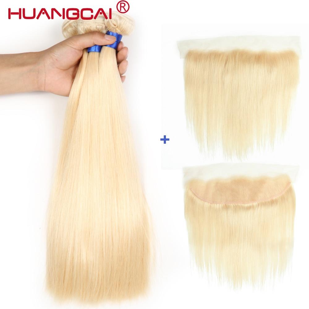 #613 Blonde Bundles Brasilianische Gerade Haar 3 Bundles mit Spitze Frontal Schließung Blond Menschliches Haar Weave mit Verschluss Remy