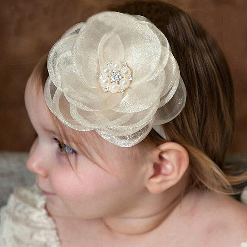 2019 Hair Bands Accessories Kids Girls Headband Newborn Lace Flower Rhinestone Pearl Hairband Headband   Headwear