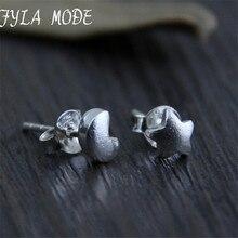 Fyla Mode S925 Sterling Silver Vintage Star Moon Stud Earrings Handmade Thai Silver Women Jewelry 5*5mm 0.45g WTS004