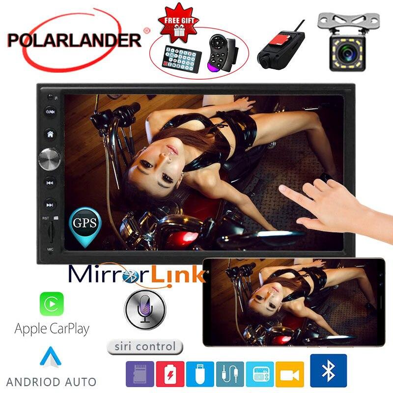 Autoradio 7 ''2 DIN GPS Navi Autoradio pour Apple Carplay & Android FM Autoradio multimédia Bluetooth miroir lien voiture audio main