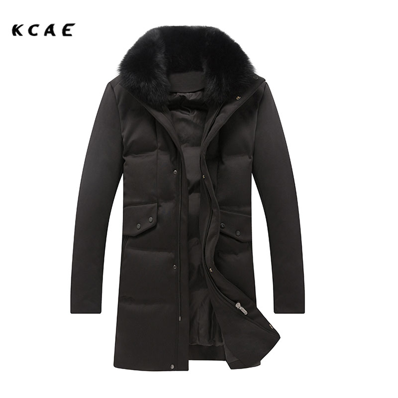 New Winter Fur Jacket Men Removable Raccoon Collar Long Parka Mens Casual Jackets and Coats Cotton