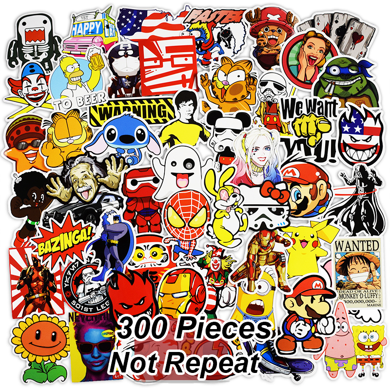 цена на 300 PCS Mix Funny Stickers for Laptop Skateboard Luggage Car Styling Bike JDM Doodle Decals Home Decor Cool Waterproof Sticker