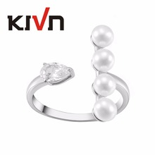 KIVN Fashion Jewelry Dazzling Adjustable Open CZ Cubic Zirconia Simulated Pearl Rings for Women Birthday Christmas Gifts
