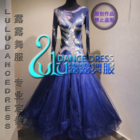 Custom Navy Blue Ballroom dance dress Moderne Waltz Standaard Concurrentie Strass Jurk. . sociale dance dress