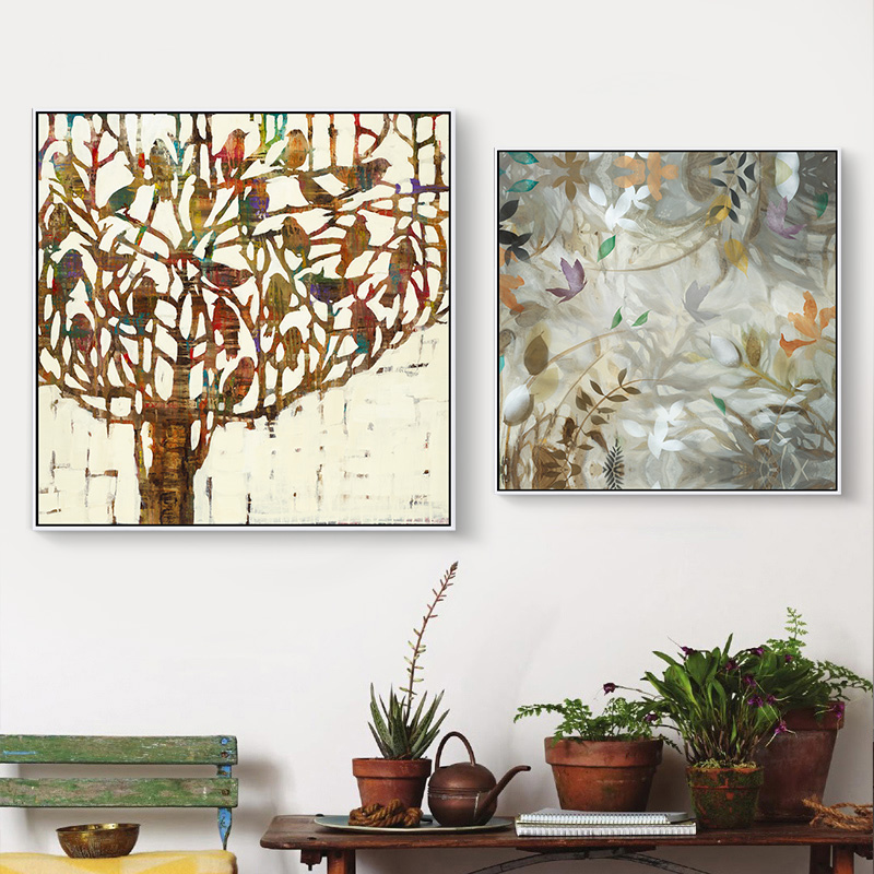 Crowded bird tree canvas oil painting home decor floral for Different home decor