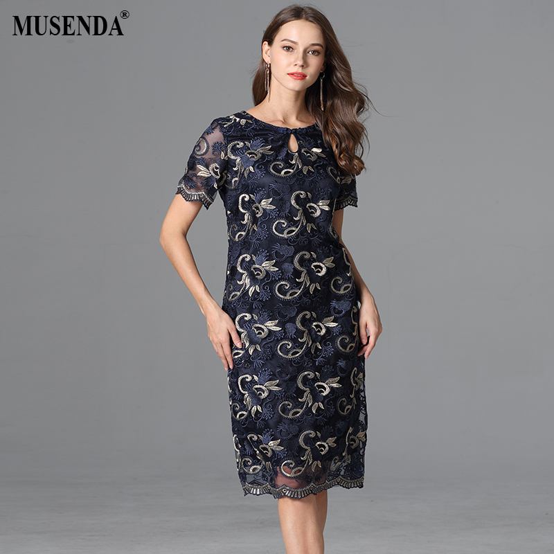 e54c50d2af0 MUSENDA Plus Size Women Blue Mesh Embroidery Slim Tunic Dress New 2018  Summer Sundress Ladies Elegant