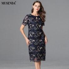 MUSENDA размера плюс женское синее Сетчатое узкое платье-туника с вышивкой Новинка летний сарафан женские элегантные винтажные платья для вечеринок 4XL