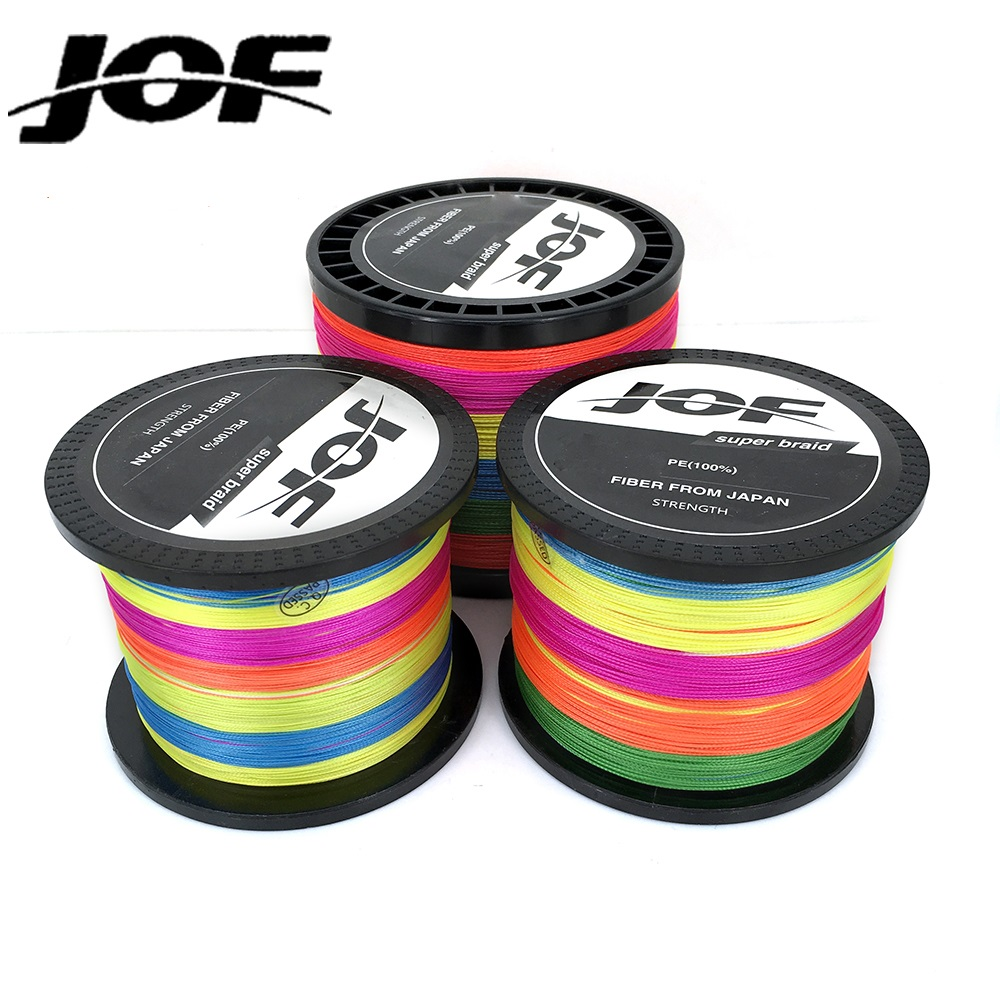 JOF 1000m 15LB-80LB Multifilament 8 Strands Fishing Wire Super Strong Carp Colorful PE Braided Fishing Line for Ocean Fishing new gevlochten draad braided fishing line wire 8 strands 1000m pe 100