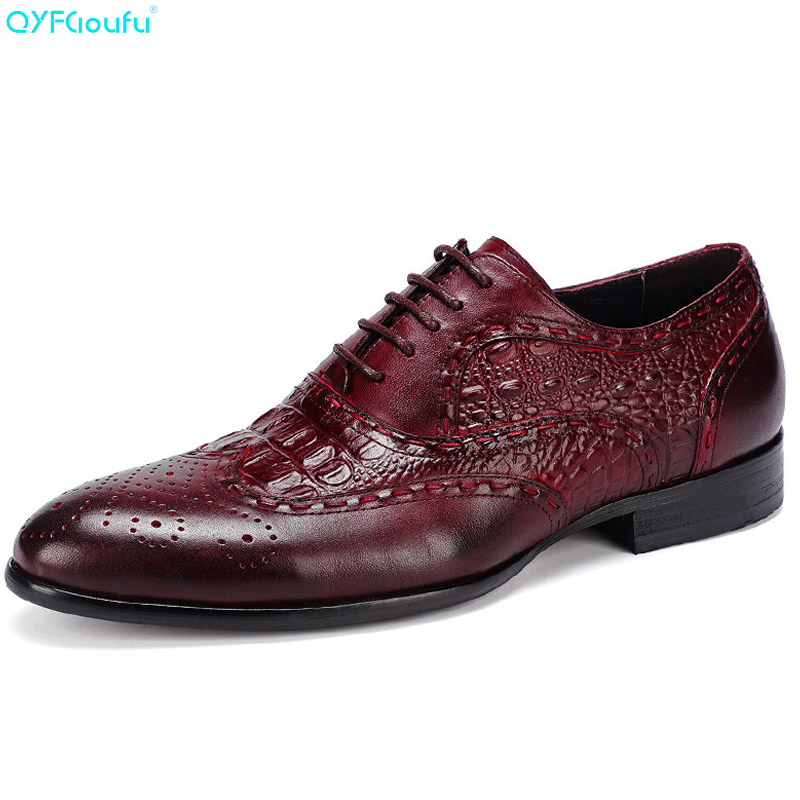 QYFCIOUFU Lace Up Men Formal Brogue Shoes Luxury Carving Dress Shoes Genuine Leather High Quality Cow Leather Oxfords Work ShoesQYFCIOUFU Lace Up Men Formal Brogue Shoes Luxury Carving Dress Shoes Genuine Leather High Quality Cow Leather Oxfords Work Shoes