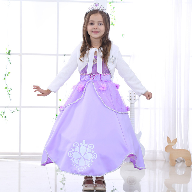 Kid Christmas Sophia Dress Girlslong Hair Princess Dress For Party