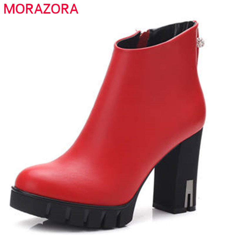 где купить MORAZORA 2018 fashion autumn winter shoes woman round toe zip ankle boots women platform thick high heels ladies boots по лучшей цене