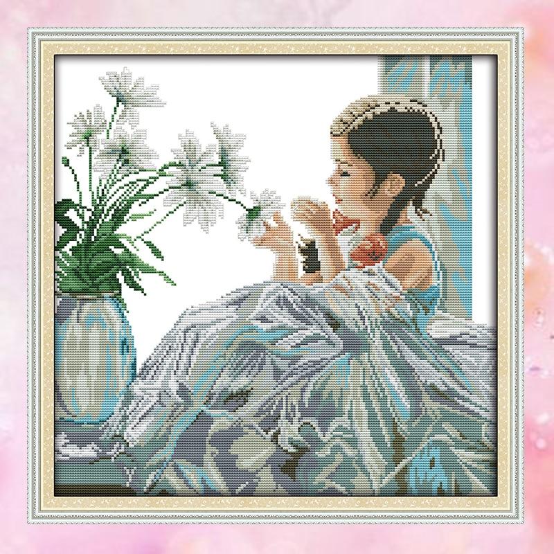 Joy Κυριακή crossstitch diy κορίτσι λουλούδια - Τέχνες, βιοτεχνίες και ράψιμο