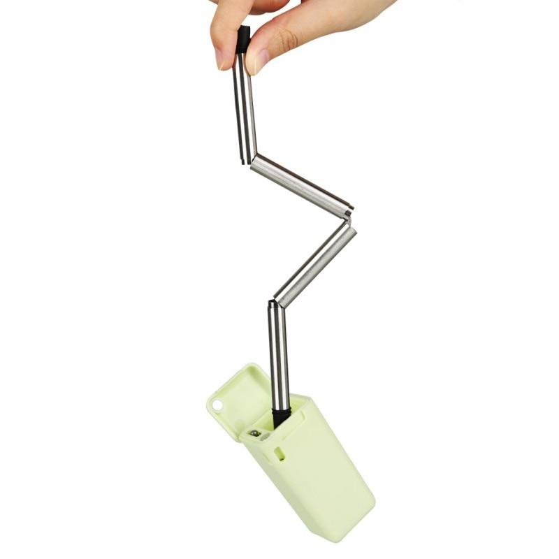 geekoplanet.com - Portable & Reusable Stainless Steel Folding Drinking Straw