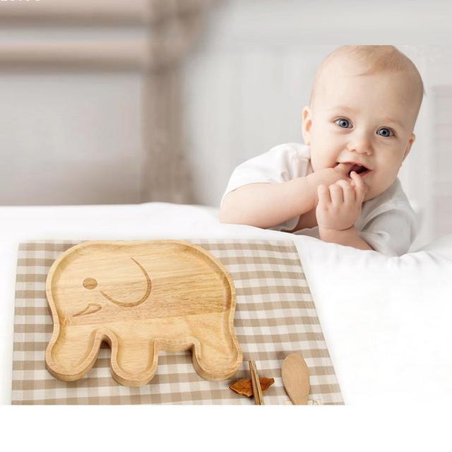 New madeira Bebê Infantil Alimentação Bonito Crianças Elefante em forma de Prato de Frutas Pratos Talheres Criança Definir Q3