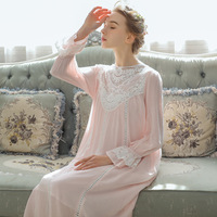 2019 Spring Summer Sleepwear Women Nightgowns Long Nightdress White Pink Blue Purple Lace Long Sleeve Cotton Robe Dress Ladies
