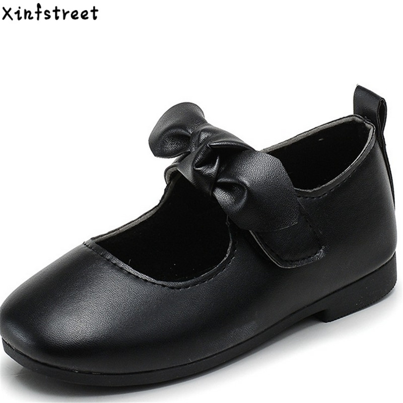 Xinfstreet Kids Shoes For Girls talla 26-35 Girls Shoes Bowtie de cuero Soft Children Casual Shoes