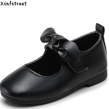 Kids Shoes For Girls Size 26-35 Girls Shoes Leather Bow Soft Dance Design Children Flats Shoes Girls цена 2017