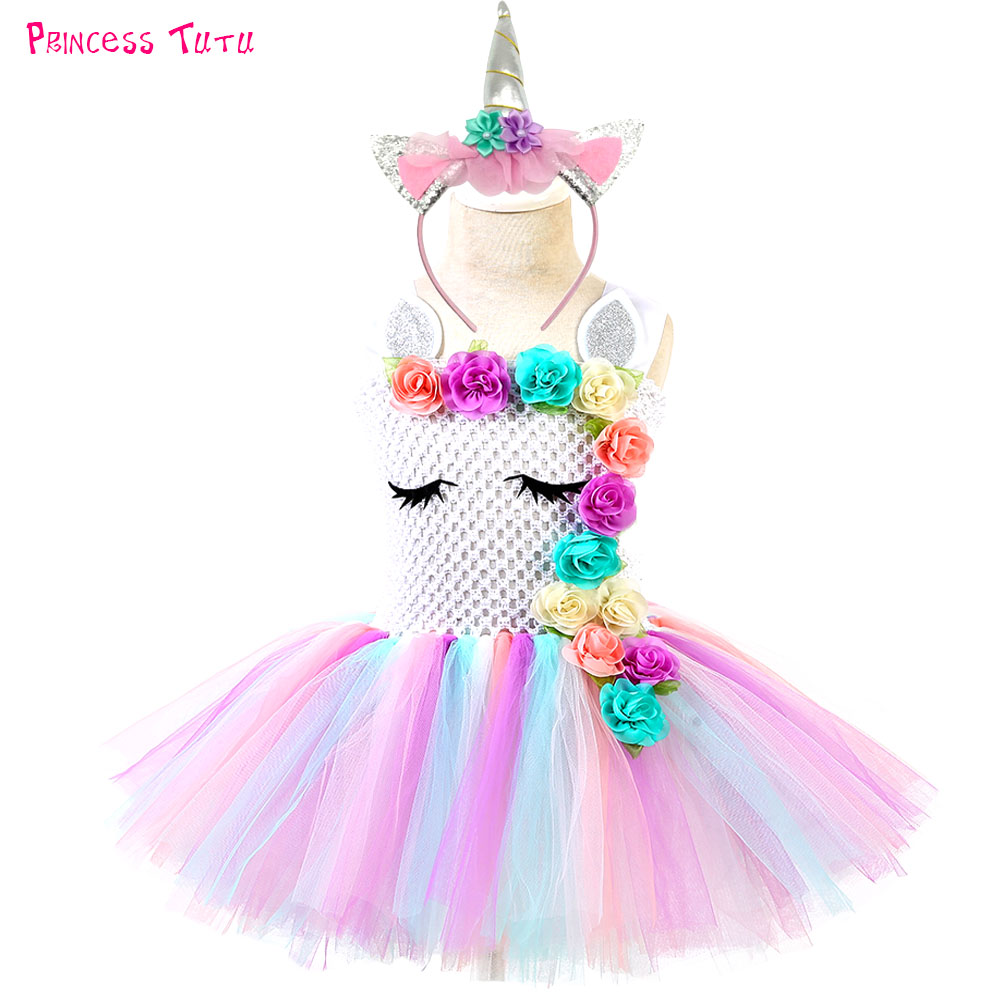 Halloween Unicorn Tutu Dress Toddler Girls Flower Unicorn Birthday Party Dresses Kids Christmas Thanksgiving Costume Clothes flower sequins princess toddler elsa girls dresses summer 2017 halloween party girl tutu dress kids dresses for girls clothes