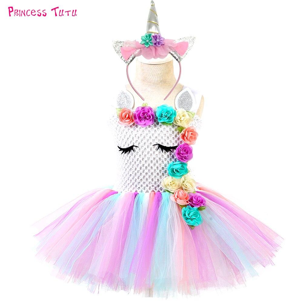 Pastel unicornio Tutu vestido de bebé niños niñas flores de cumpleaños fiesta de disfraces vestidos niño Purim día de Halloween traje de Navidad
