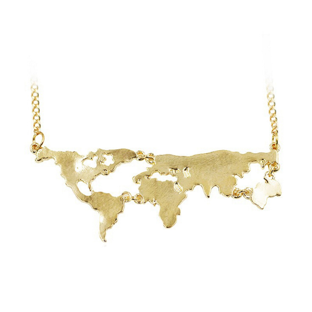 3colors Hot Sale New Fashion World Map Pendant Necklace Personality World Jewelry Lovers Creative Geography Special Gift