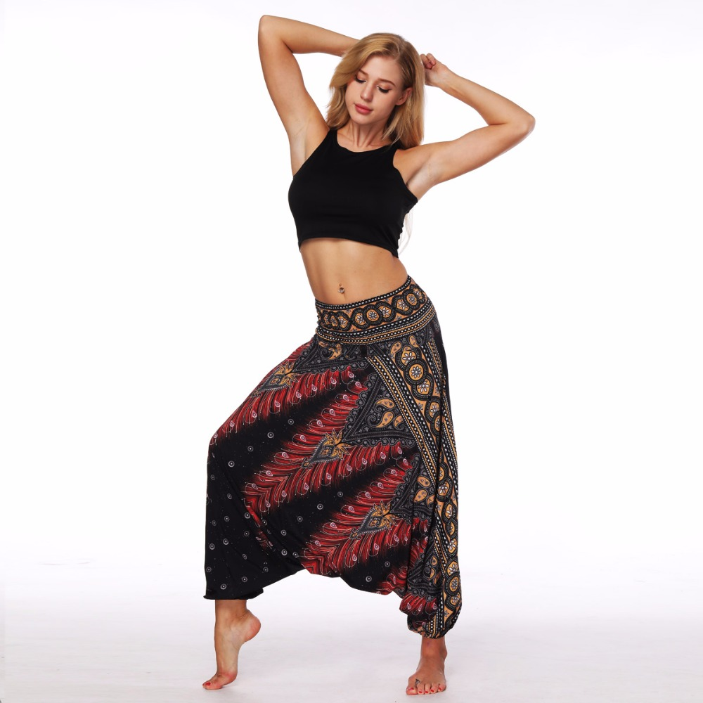 AMOMA Loose Fit Pants Harem Trousers Aladdin Hippy Boho Style Wide Leg Harem Pants Bloomers Summer Beach Pantalettes
