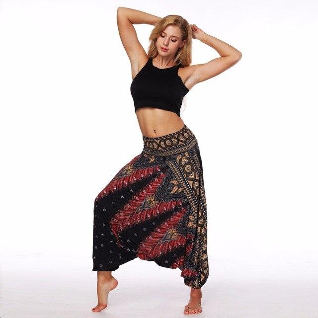AMOMA Loose Fit Брюки Шаровары Аладдин хиппи бохо Стиль широкие брюки шаровары летние пляжные Pantalettes