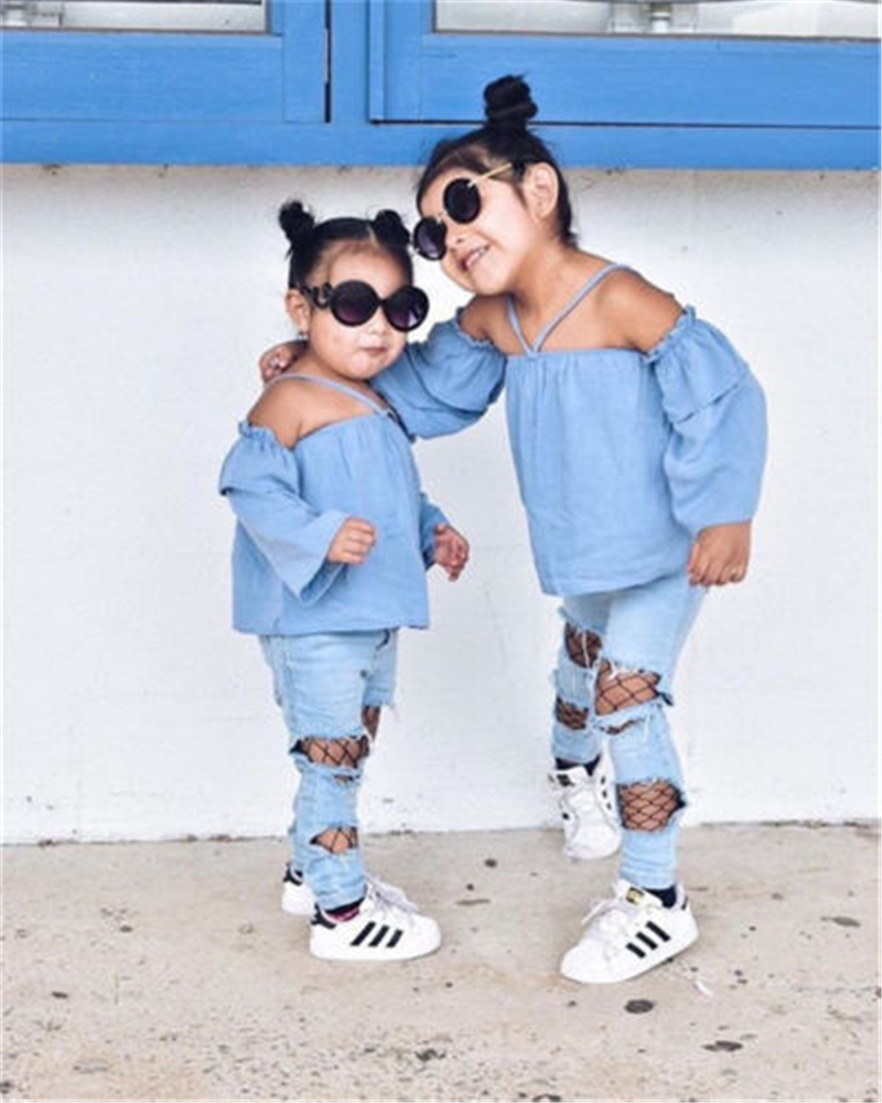 2Pcs Toddler Kids Baby Girls Off Shoulder Tops Denim Hole Pants Outfits Clothes