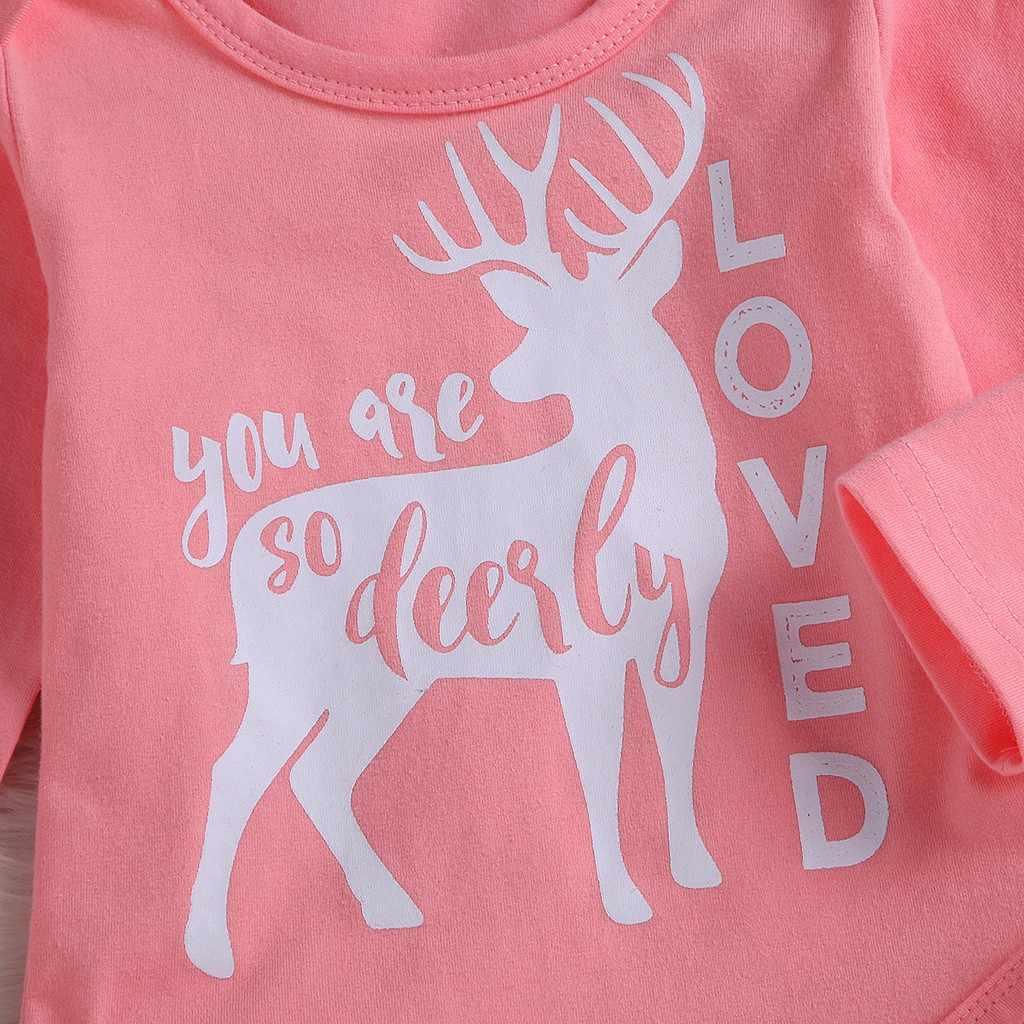 ace9e9a0e ... Bebé bebé niña niño día de San Valentín de ciervo mameluco pantalones  de impresión sombrero trajes ...