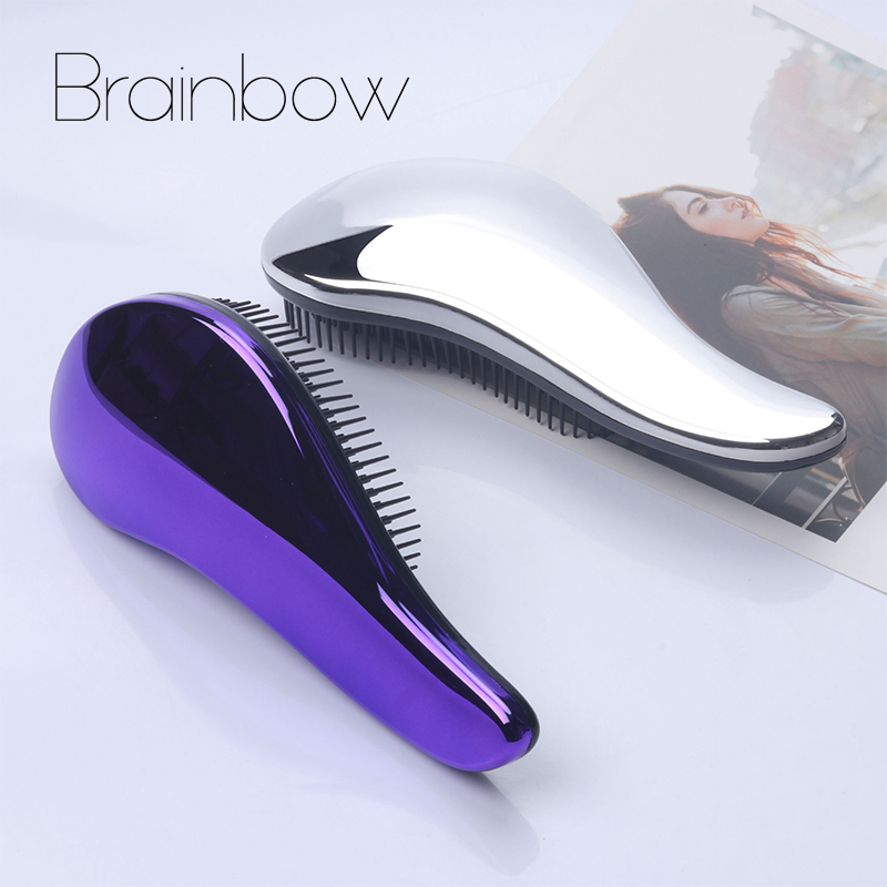 Brainbow 1pc Magic Antistatische Haarborstel Handvat Plastic Galvaniseren Kam Douche Shampoo Massage Kam Salon Haar Styling Tools