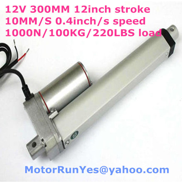 ФОТО New 12V  300mm/=12inch stroke 10mm/s= 0.4inch/s speed 1000N=100KG=220LBS force DC linear actuator 53D