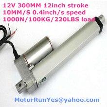 Новый 12 В 300 мм / = 12 дюймов ход 10 мм/сек. = 0.4 дюйма / с скорость 1000N = 100 кг = 220LBS сила тока линейный привод 53D