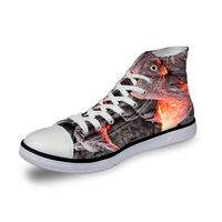 Noisydesigns High top canvas women sneakers vintage vulcanized flat shoes ladies flame charcoal red fire 3D print girls footwear