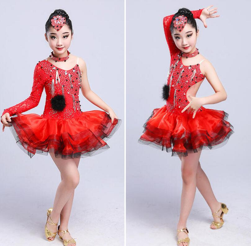 latin flamenco ballroom dance competition dresses for girls sequin salsa rumba tango samba cha cha dress kids children costumes in Latin from Novelty Special Use