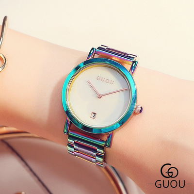 GUOU New Fashion watch women Colorful stainless steel Dress Watches relogio feminino Ladies quartz wristwatch reloj mujer 2017 skone fashion simple watches for women lady quartz wristwatch stainless steel band watch for woman relogio femininos