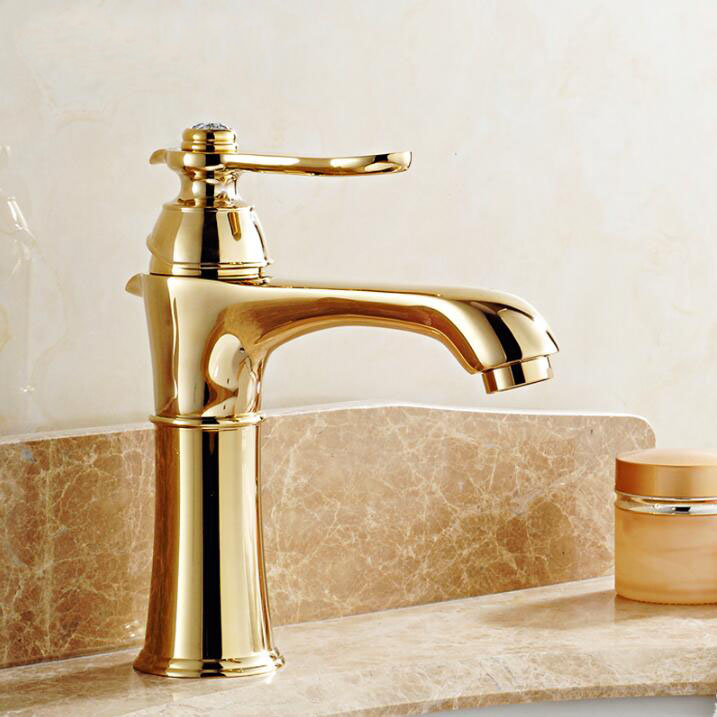 Free Shipping Euro Gold finish Luxury Bathroom Basin Faucet small Single Handle with diamond Vanity Sink Mixer water Tap basin faucets brass gold deck bathroom sink faucet single handle euro luxury horse head diamond bath vanity mixer water tap 818k