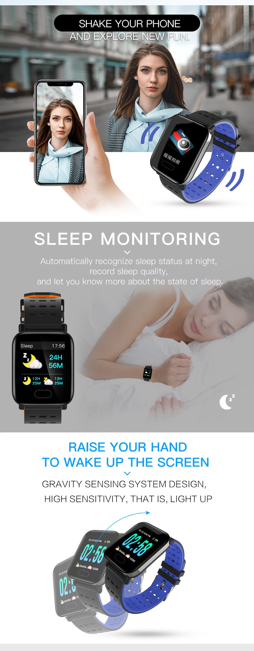 Letike A6 fitness tracker Bluetooth Smart Watch blood pressure monitor Sport Smart Wrist Watch smart bracelet for Android iOS 5