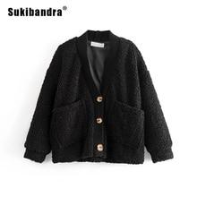 Sukibandra Winter 2018 Faux Fur Shaggy Fluffy Furry Women Warm Oversized Jacket Casual V Neck Button Female Black Outwear Coat