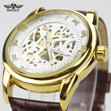 Ganador Forsining Marca Marco De Oro Blanco Dial Diamond Diseño Mecánico Automático Relojes Para Hombre de Negocios Vestido Relojes Hombre