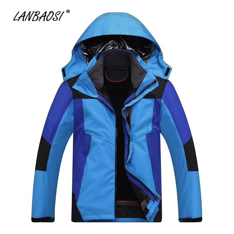 LANBAOSI Winter Outdoor Sports Mens Hooded Hiking Jackets Warm Waterproof Camping Trekking Skiing Climbing Windbreaker Outwear