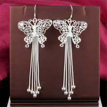 High Quality 925 Sterling Silver Earrings 2016 Hot Plating  Hollow Butterfly  Earrings Girls Fashion Earring Anti-Allergic Gift