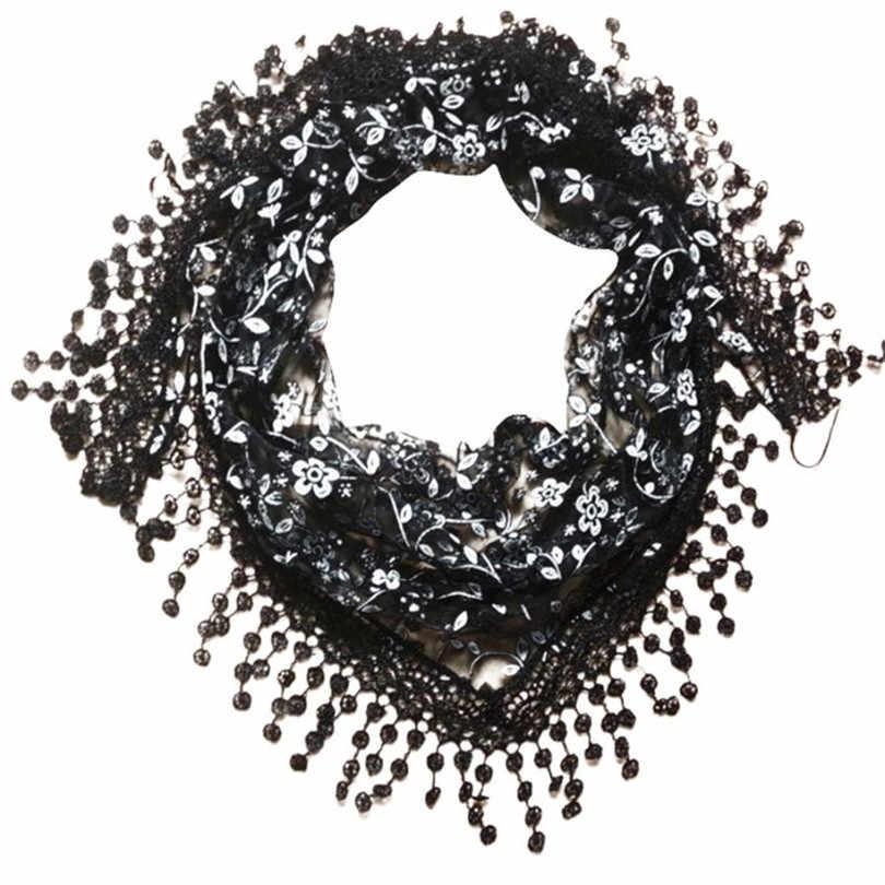 2019 bufandas de moda para las mujeres de encaje borla Burntout con impresión Floral Mantilla mantón bufanda