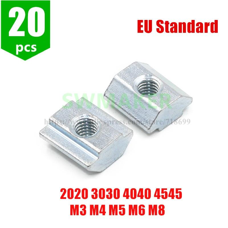 20Pcs T Sliding Nut Block Square Nuts M3 M4 M5 M6 M8 For 2020 3030 4040 4545 Aluminum Profile Slot Zinc Coated Plate EU Standard