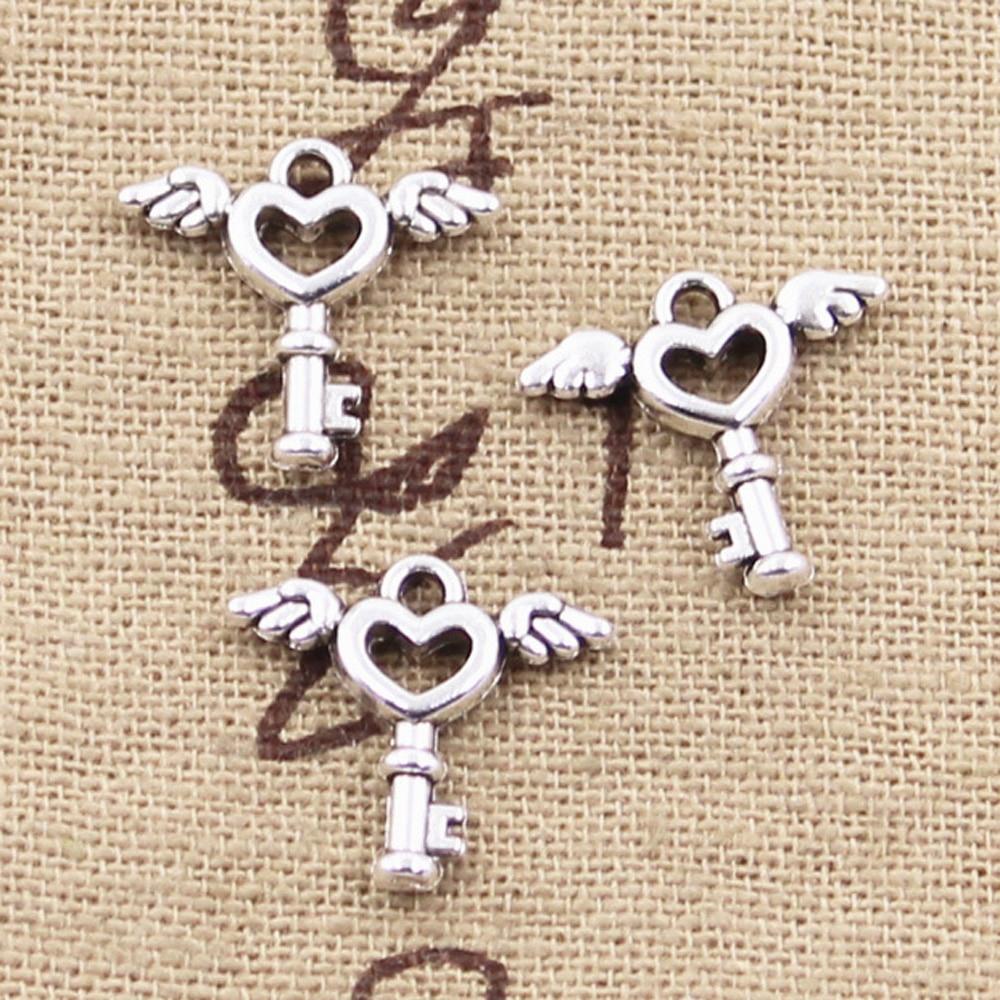 50 шт. Подвески Fly Key 14x14 мм античные бронзовые Серебряные Подвески для изготовления самодельных тибетских серебряных украшений ручной работ...