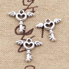 50 pçs encantos voar chave 14x14mm antigo bronze prata cor pingentes fazendo diy artesanal tibetano prata cor jóias