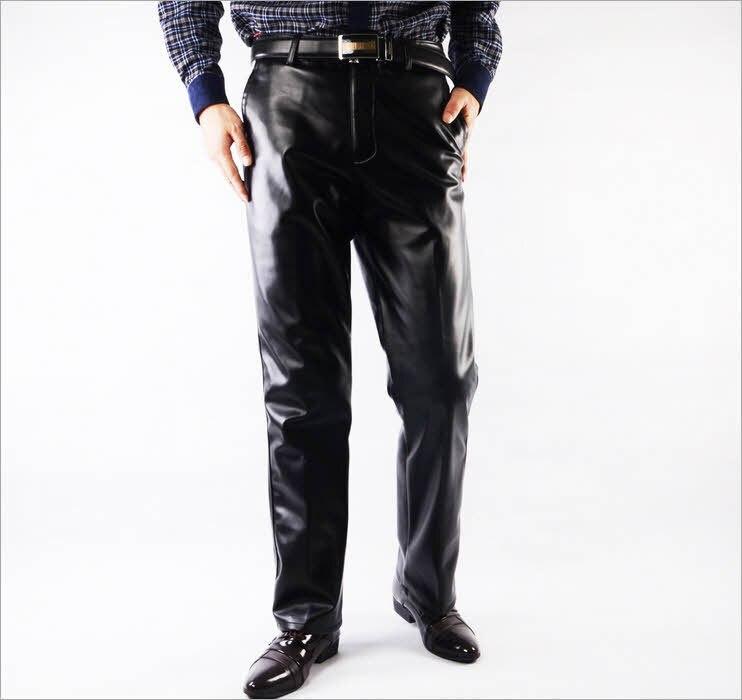 #2204 Черный Натуральная Кожа брюки мужчины Моды Случайные Плюс размер брюки Мотоцикла Брюки мужчины ИСКУССТВЕННАЯ Кожа бегуны Pantalon homme