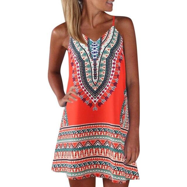 US $8 75 10% OFF Aliexpress com : Buy women's dresses Print Color Summer  Dress 2019 Women Boho Style Geometric Print Sleeveless Dress A Line Maxi  Mini