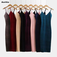 2016 Women Autumn Brief Style Velvet Slip Dress Side Vent Full Dress Suspender Strap Sexy One
